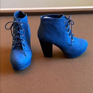 Denim ankle boots never worn